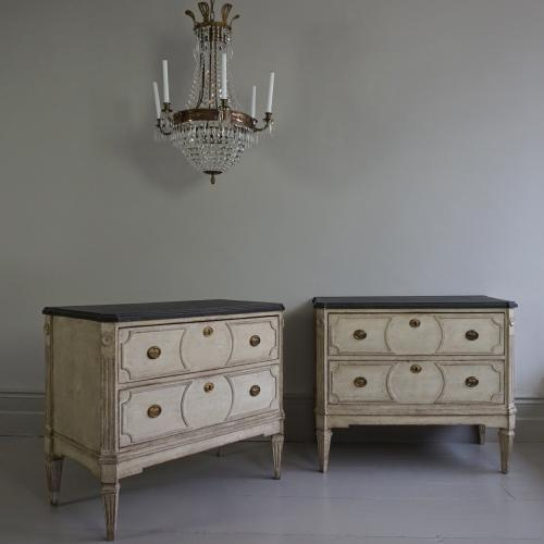 PAIR OF RICHLY CARVED GUSTAVIAN STYLE CHESTS