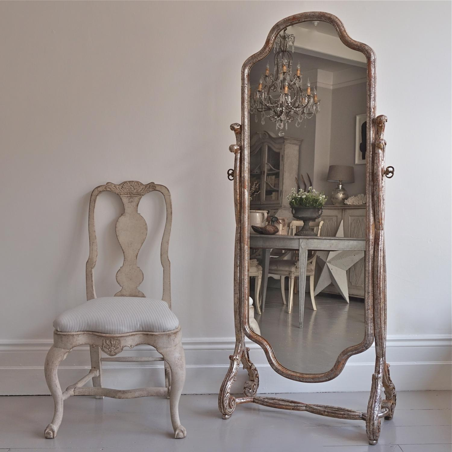 VERY RARE CHEVAL MIRROR IN ORIGINAL SILVER