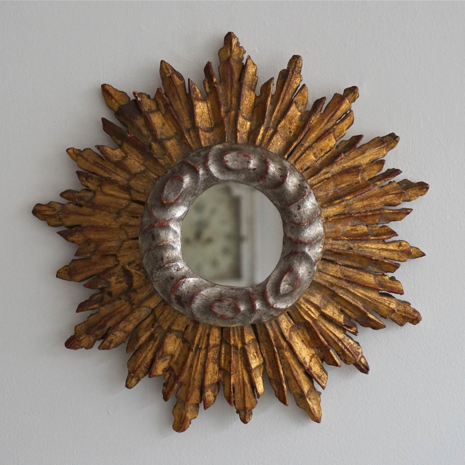 CHARMING BABY SILVER & GILT SUNBURST MIRROR