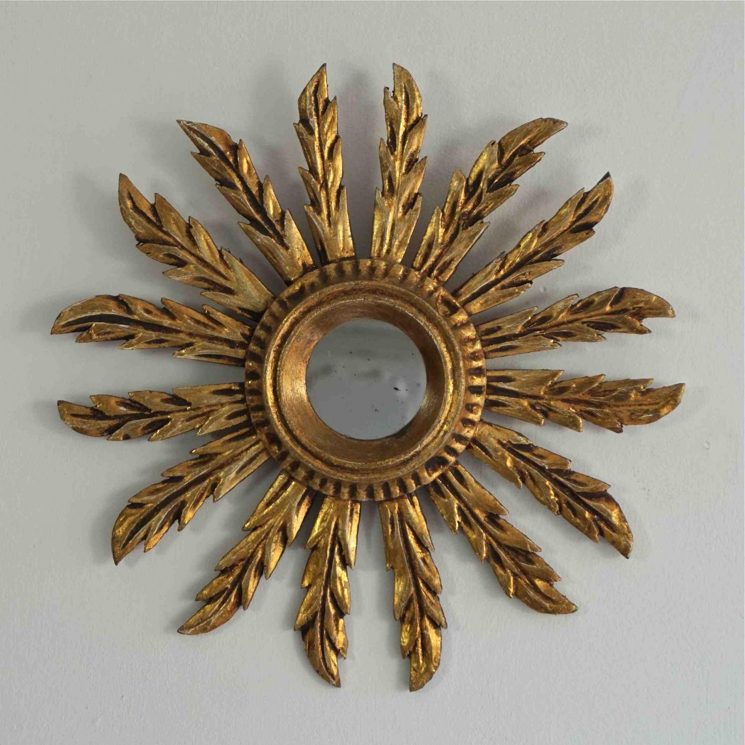 SMALL FRENCH VINTAGE GILT SUNBURST MIRROR