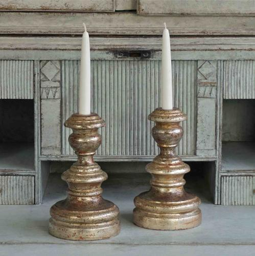 PAIR OF FRENCH SILVER GILT CANDLESTICKS