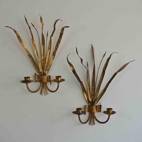 PAIR OF FRENCH BULLRUSH WALL SCONCES