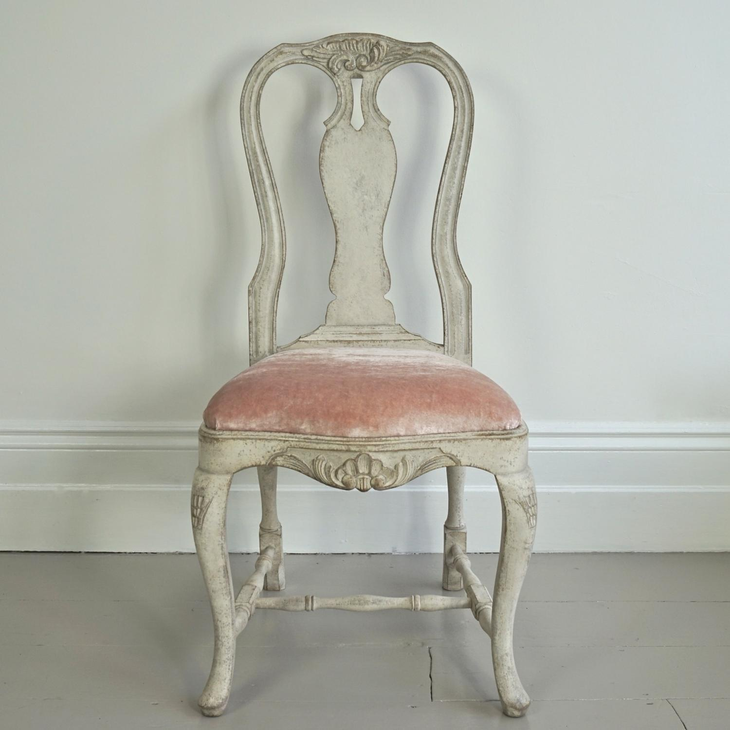 RICHLY CARVED SWEDISH ROCOCO SIDE CHAIR in FURNITURE