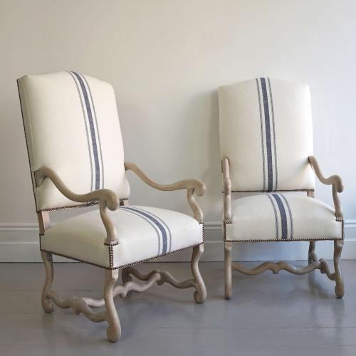 EXQUISITE PAIR OF OS DU MOUTON ARMCHAIRS
