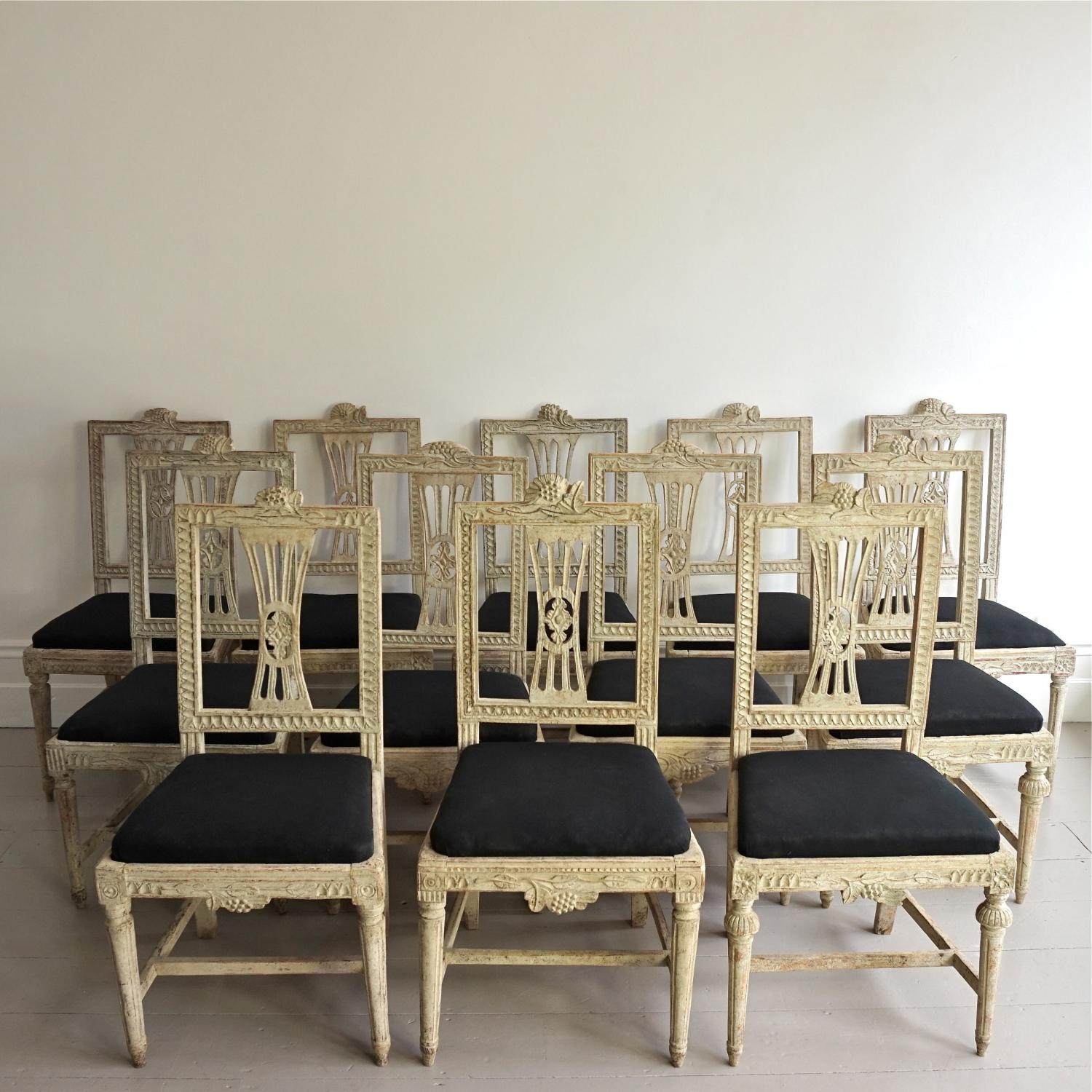 VERY RARE SET OF TWELVE GUSTAVIAN CHAIRS