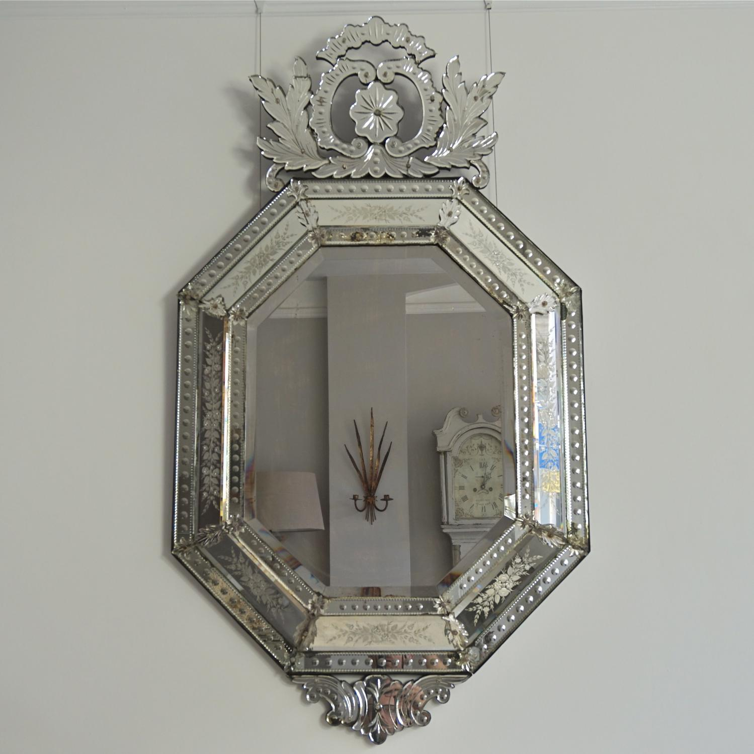 BEAUTIFUL ANTIQUE VENETIAN CRESTED MIRROR