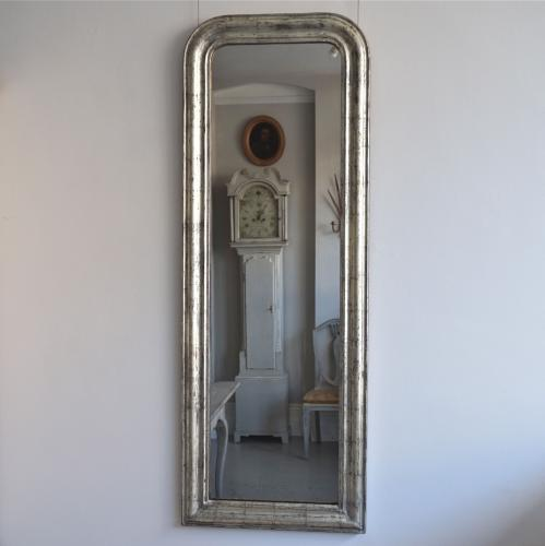 RARE SILVER LOUIS PHILIPPE PILLAR MIRROR