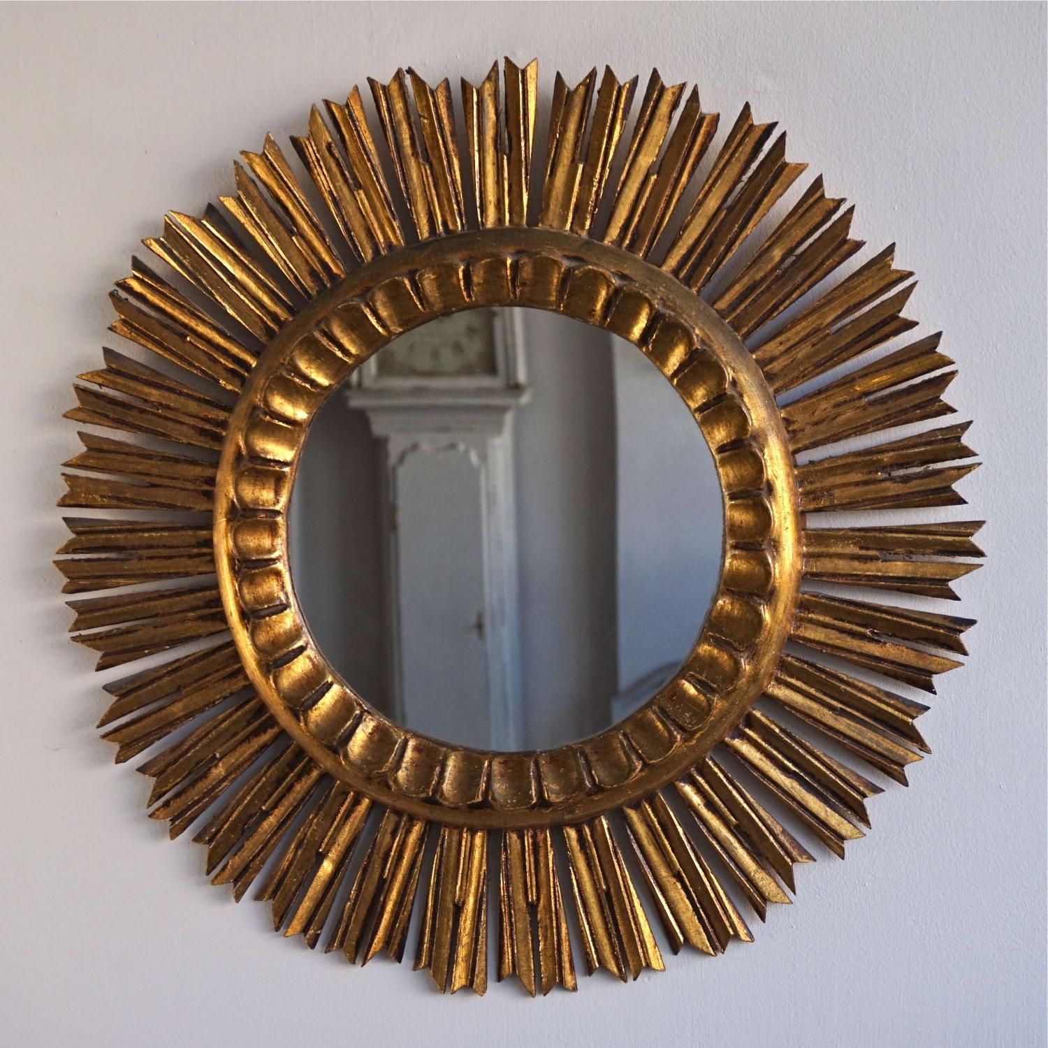 VINTAGE CARVED GILTWOOD SUNBURST MIRROR