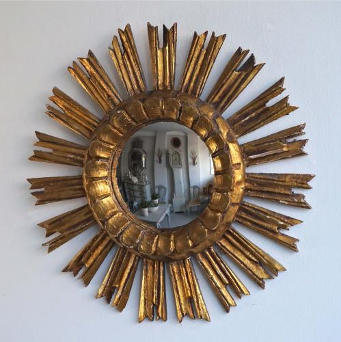 GILT SUNBURST WITH RARE ORIGINAL CONVEX GLASS