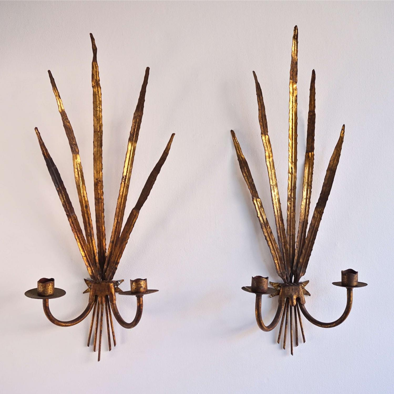 PAIR OF DECORATIVE GILT TOLLE WALL SCONCES