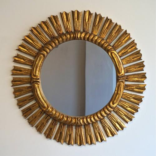 VERY LARGE VINTAGE FRENCH SUNBURST MIRROR