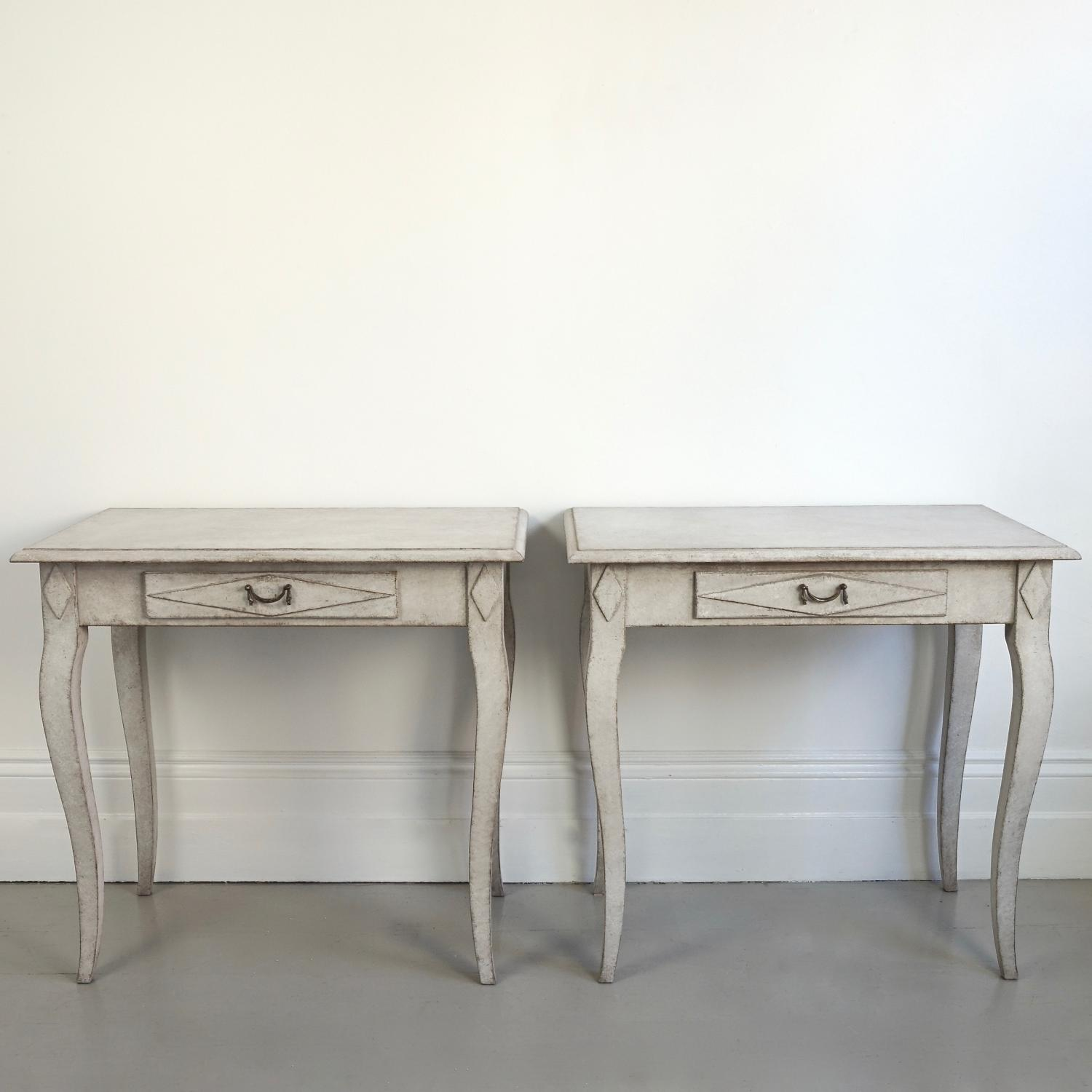 PAIR OF BESPOKE SWEDISH ROCOCO SIDE TABLES