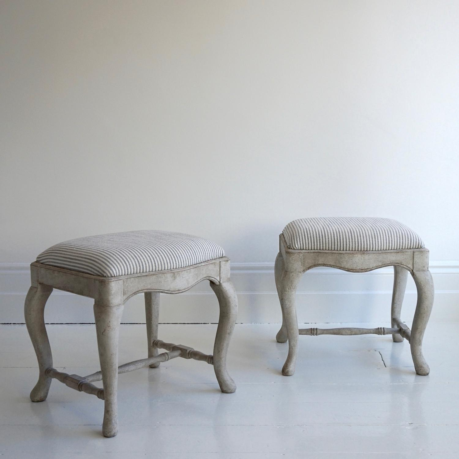 PAIR OF BESPOKE HAND CARVED SWEDISH STOOLS
