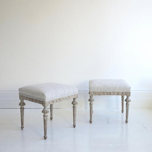 EXQUISITE PAIR OF SWEDISH GUSTAVIAN STOOLS