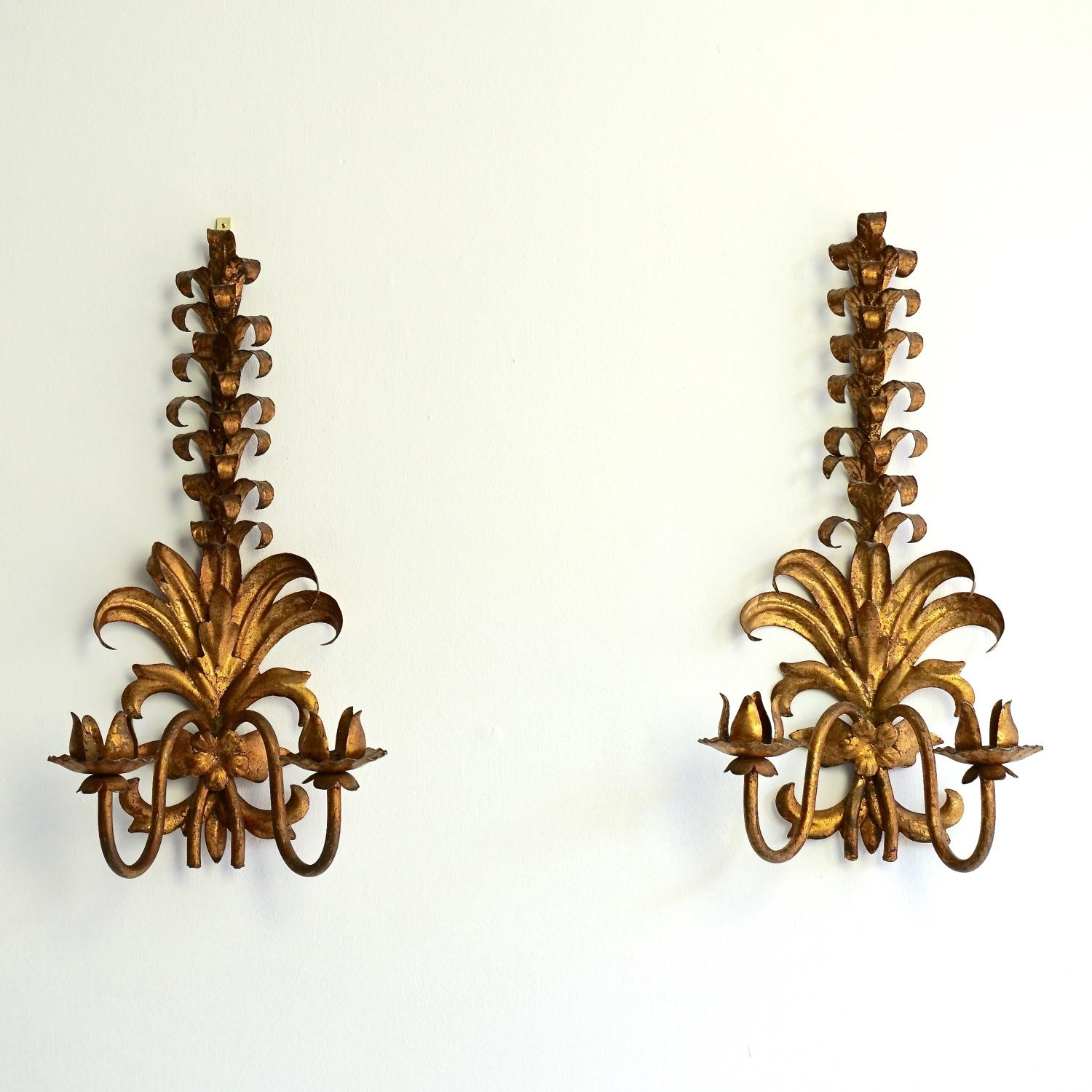 PAIR OF VERY RARE GILT TOLLE SCONCES