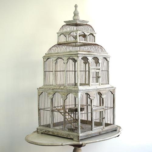 EXQUISITE FRENCH BIRD CAGE IN ORIGINAL PAINT