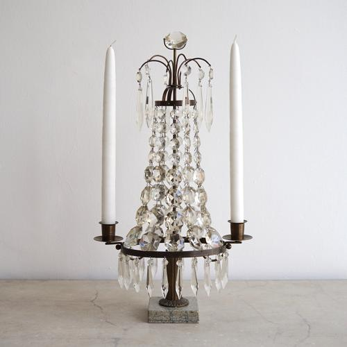 VERY FINE ANTIQUE SWEDISH CRYSTAL CANDELABRA
