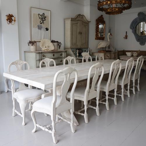 HUGE SWEDISH X-FRAME TRESTLE DINING TABLE
