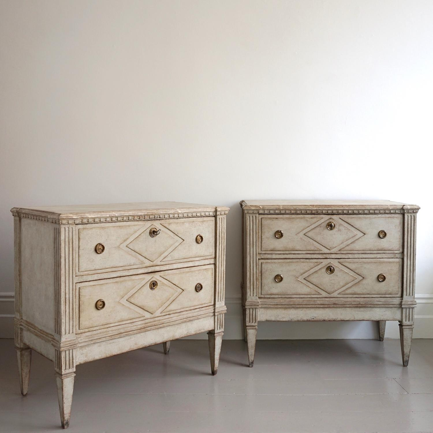 PAIR OF SWEDISH GUSTAVIAN BEDSIDE CHESTS