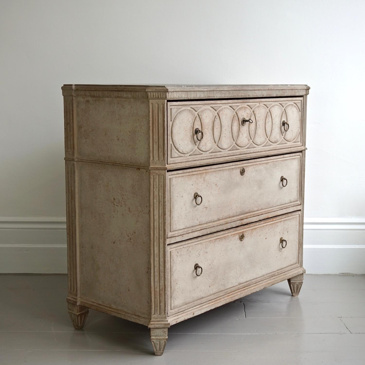 VERY FINE SWEDISH GUSTAVIAN STYLE CHEST