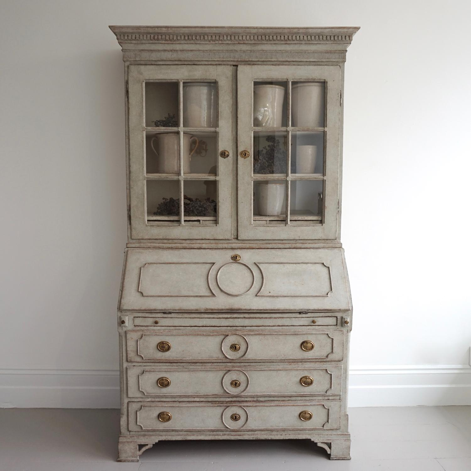 GUSTAVIAN SECRETAIRE WITH RARE GLASS VITRINE