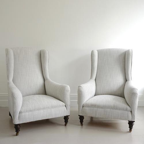 EXTRAORDINARY PAIR OF FRENCH LIBRARY ARMCHAIRS