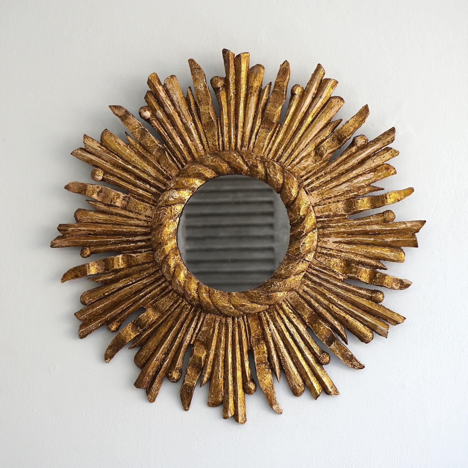 FRENCH VINTAGE GILT SUNBURST MIRROR