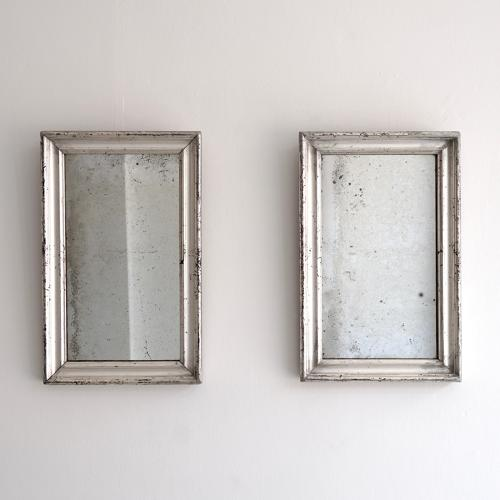 BEAUTIFUL PAIR OF SILVER MERCURY GLASS MIRRORS