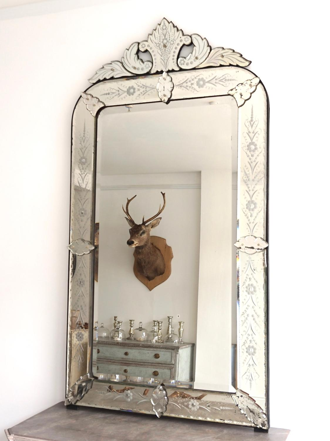 Exceptional Large Antique Venetian Mirror In Mirrors