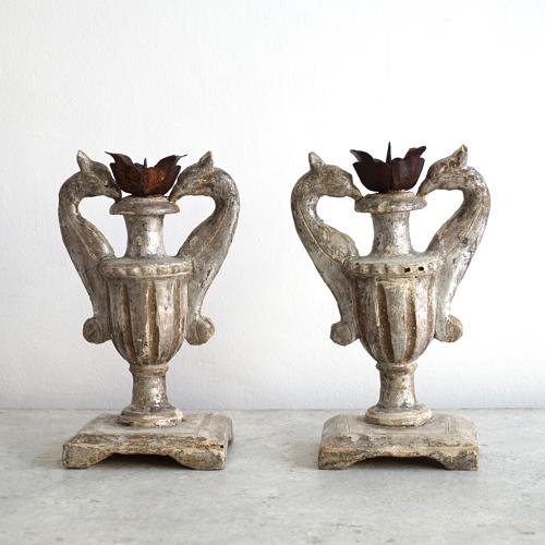 EXQUISITE PAIR OF ITALIAN CANDLESTICKS