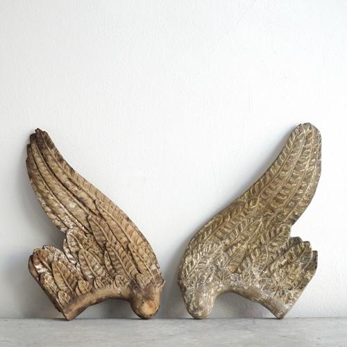 PAIR OF RARE 18TH CENTURY CARVED WOOD ANGELS WINGS