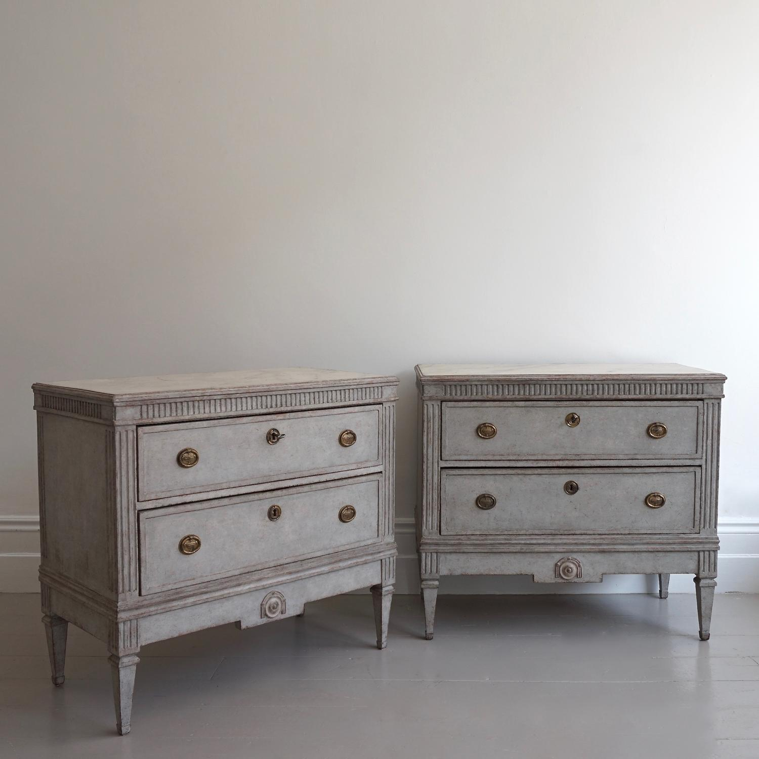 VERY FINE PAIR OF SWEDISH GUSTAVIAN STYLE CHESTS