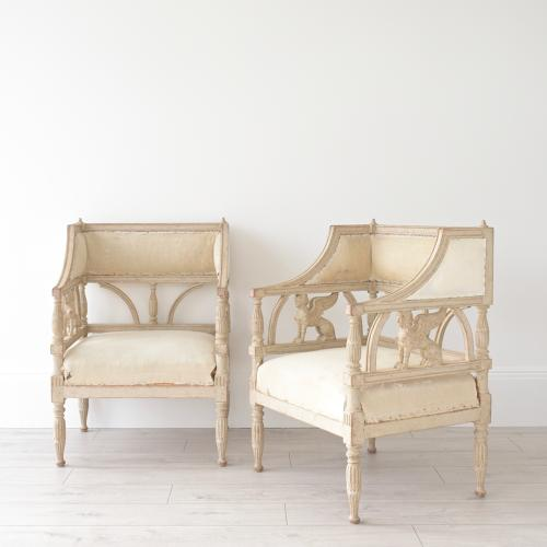WONDERFUL PAIR OF SWEDISH EMPIRE GRIFFIN ARMCHAIRS