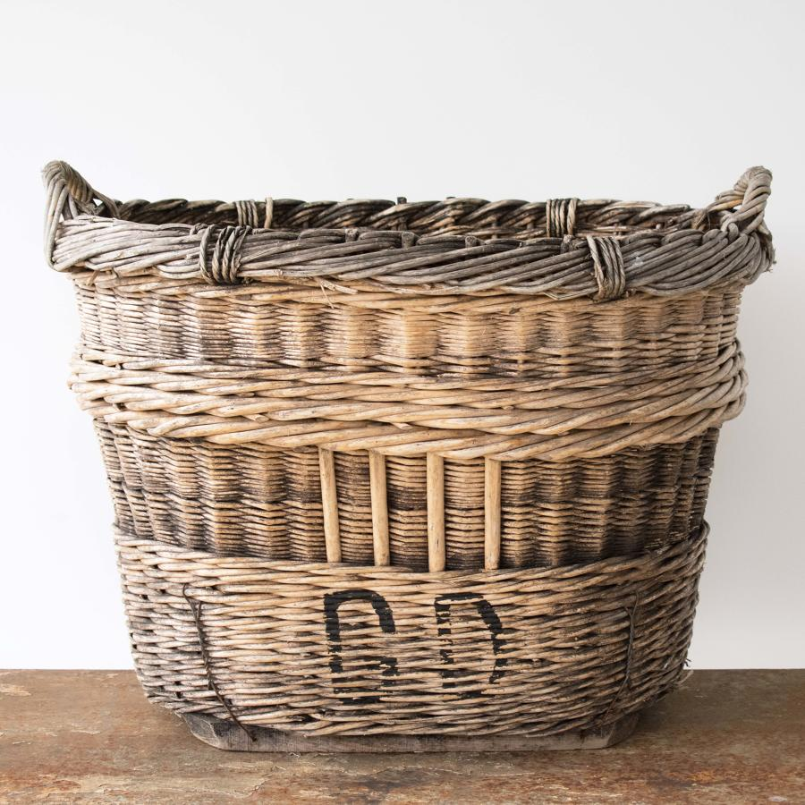 VERY LARGE FRENCH WICKER CHAMPAGNE BASKET