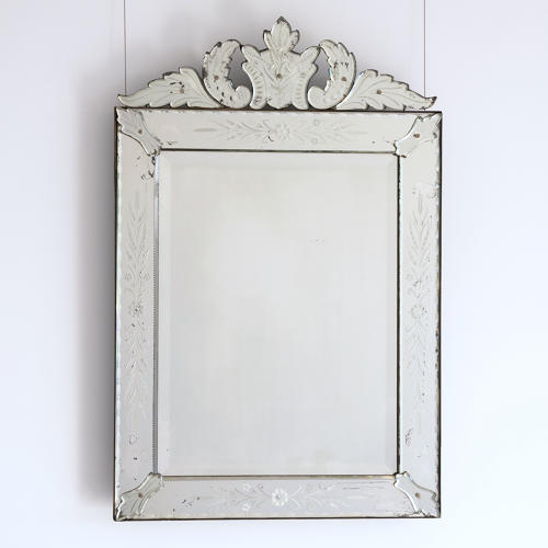 LATE 19TH CENTURY VENETIAN MIRROR WITH CARTOUCHE
