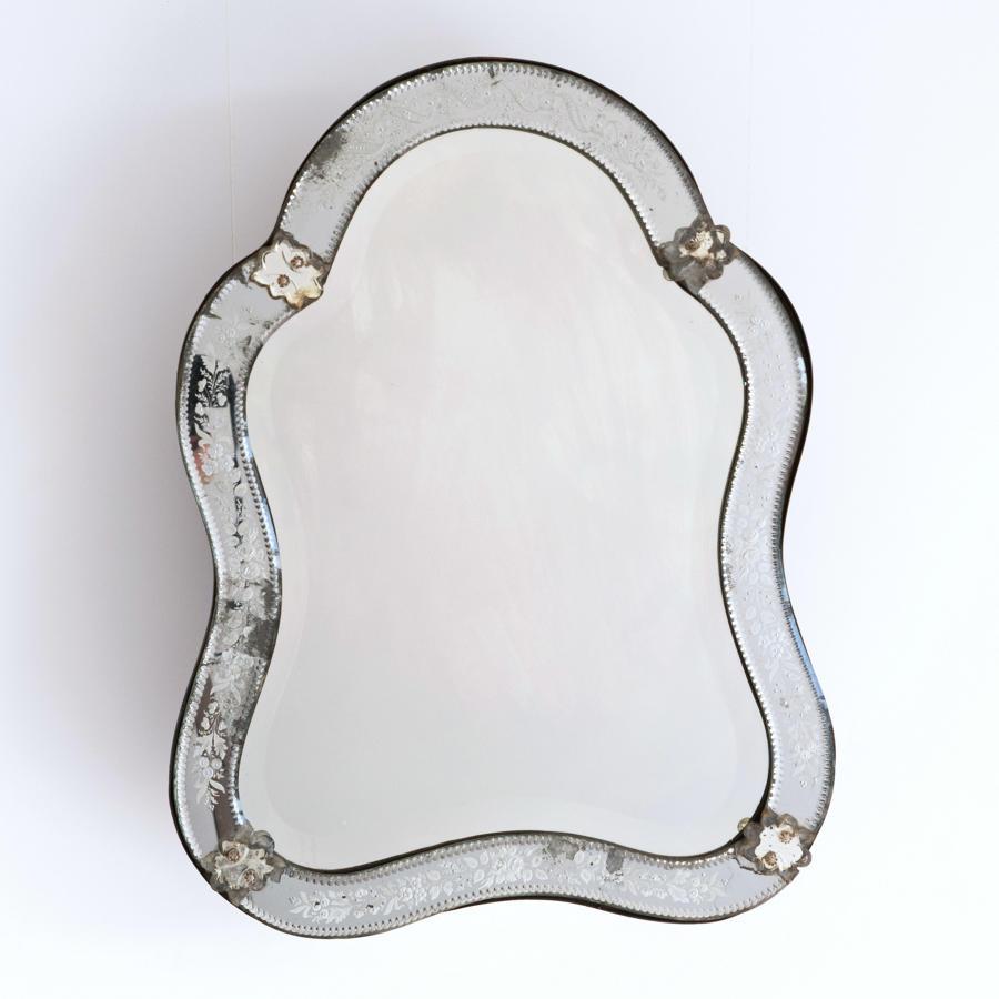 VENETIAN MIRROR WITH RARE ORIGINAL MERCURY GLASS