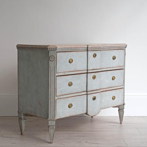 SWEDISH BLUE GUSTAVIAN STYLE BREAK FRONT CHEST