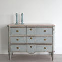 SWEDISH BLUE GUSTAVIAN STYLE BREAK FRONT CHEST - picture 3