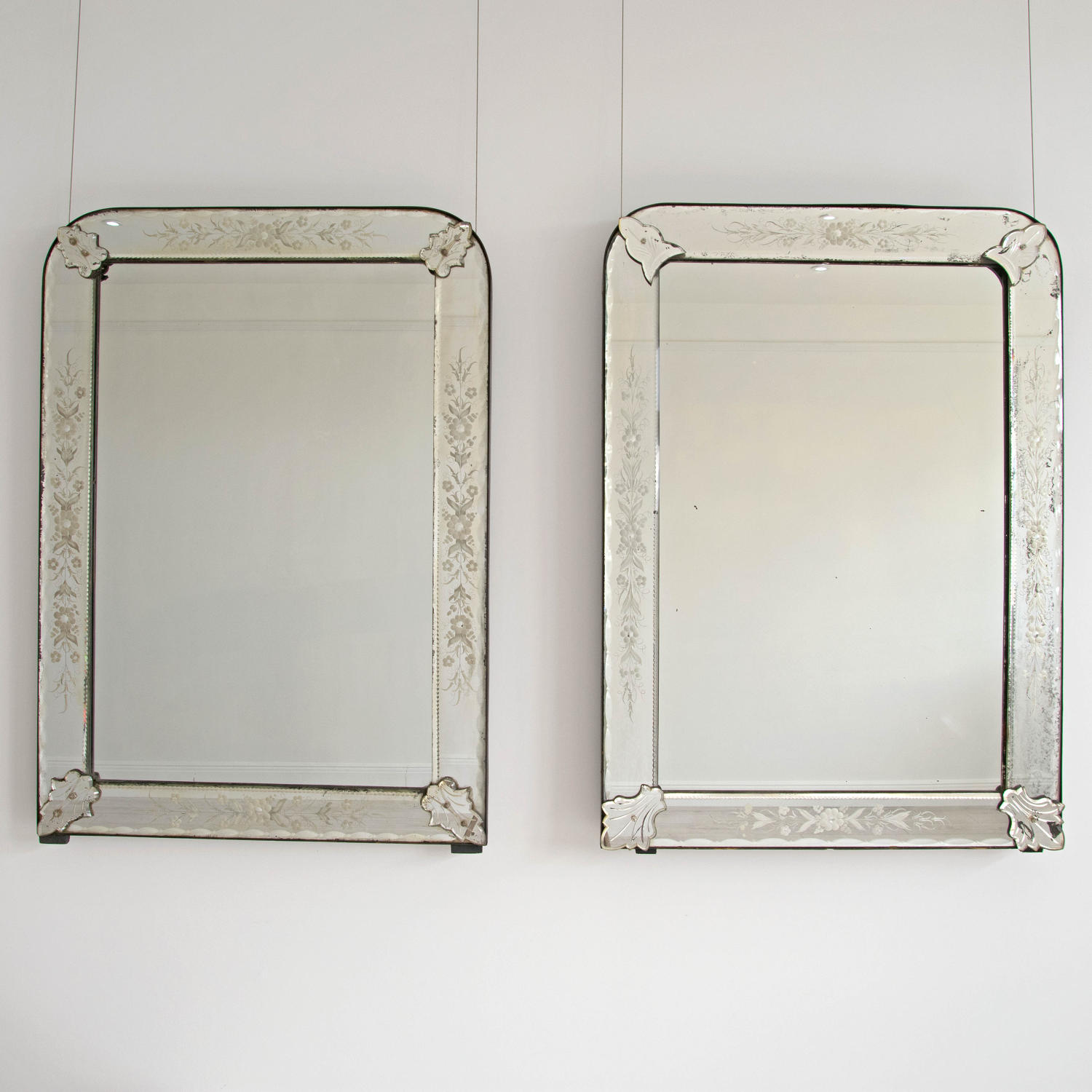 SUPERB MATCHED PAIR OF ANTIQUE VENETIAN MIRRORS