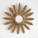 VINTAGE FRENCH FEATHER RAY SUNBURST MIRROR - picture 1