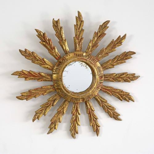 VINTAGE FRENCH FEATHER RAY SUNBURST MIRROR
