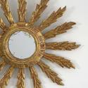 VINTAGE FRENCH FEATHER RAY SUNBURST MIRROR - picture 2