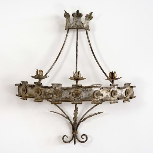 MAGNIFICENT SPANISH METAL CORONA WALL SCONCE