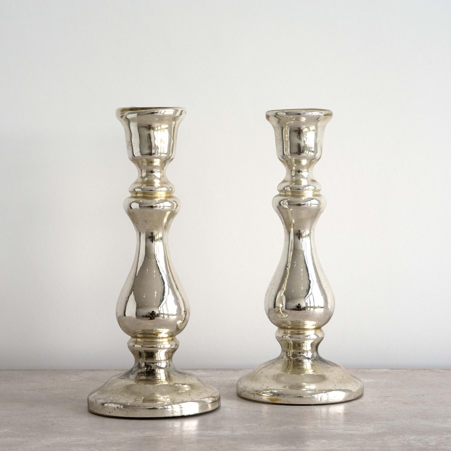 PAIR OF RARE TALL ANTIQUE MERCURY GLASS CANDLESTICKS