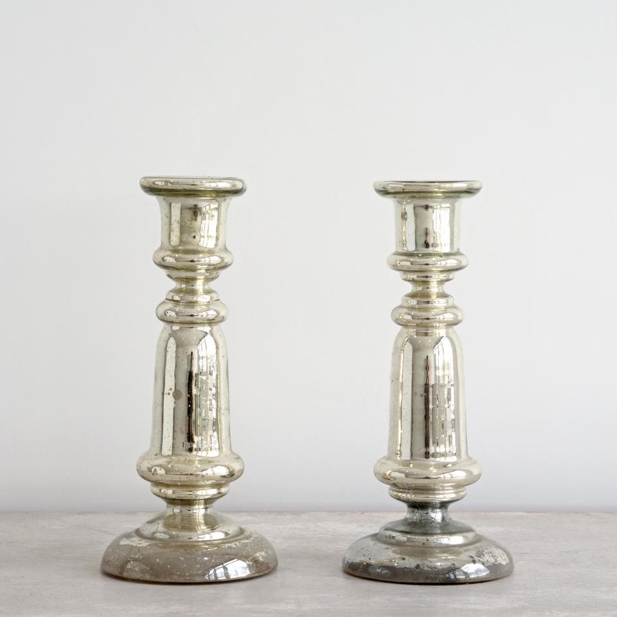 PAIR OF MERCURY GLASS CANDLESTICKS