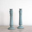 BEAUTIFUL 19TH CENTURY PALE BLUE SWEDISH CANDLESTICKS - picture 1