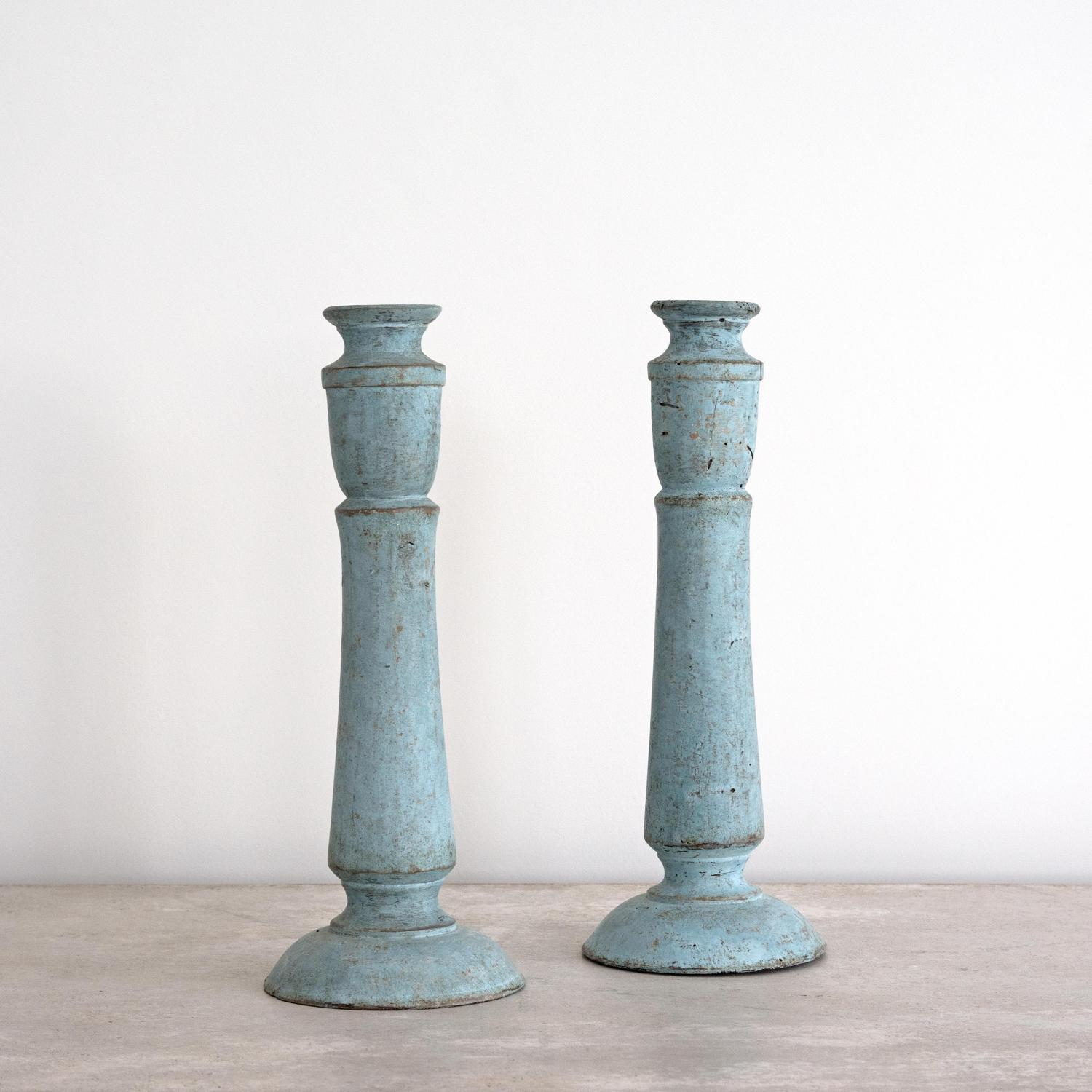 BEAUTIFUL 19TH CENTURY PALE BLUE SWEDISH CANDLESTICKS