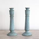 BEAUTIFUL 19TH CENTURY PALE BLUE SWEDISH CANDLESTICKS - picture 2