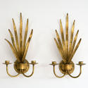 WONDERFUL PAIR OF ITALIAN GILT TOLLE LEAF WALL SCONCES - picture 1