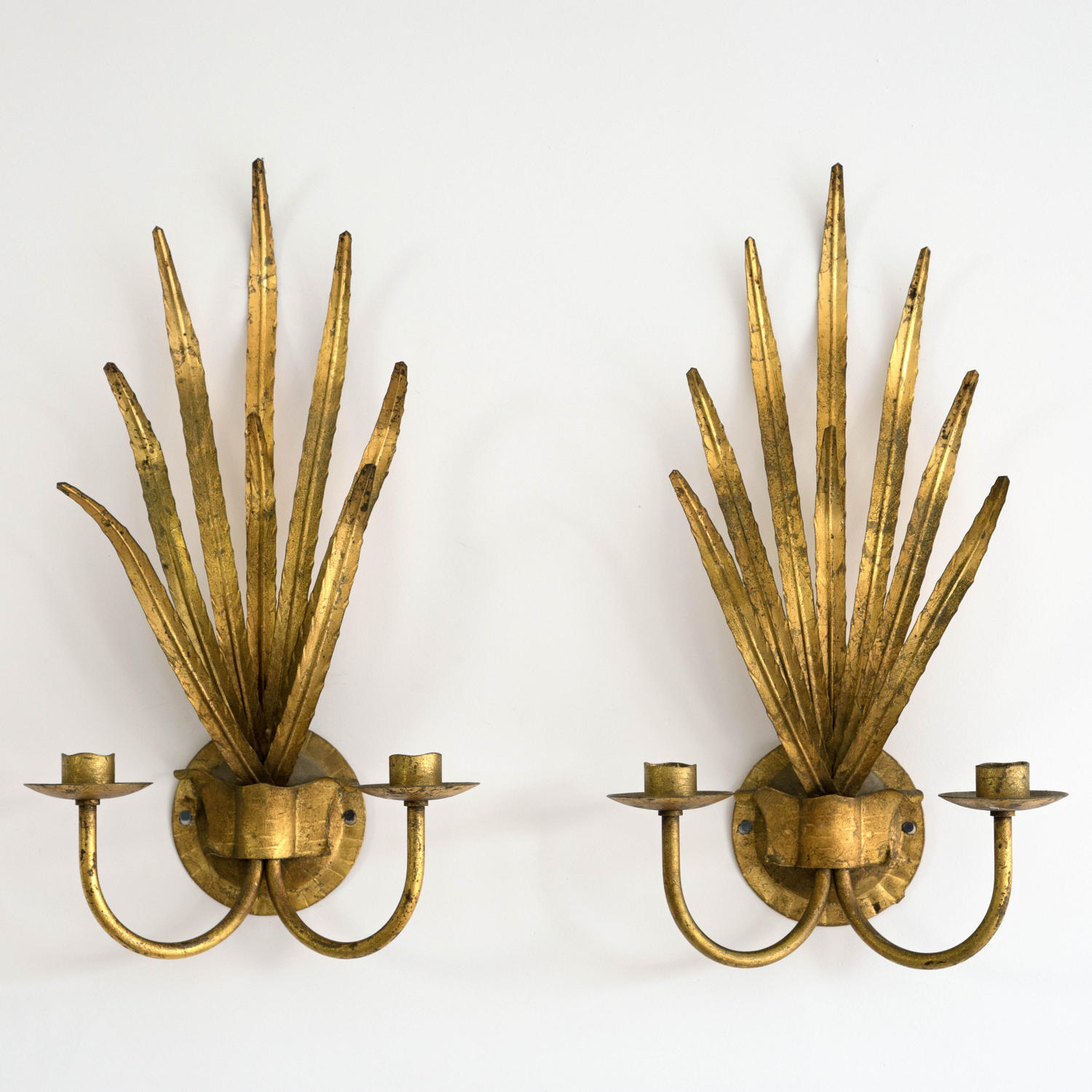 WONDERFUL PAIR OF ITALIAN GILT TOLLE LEAF WALL SCONCES